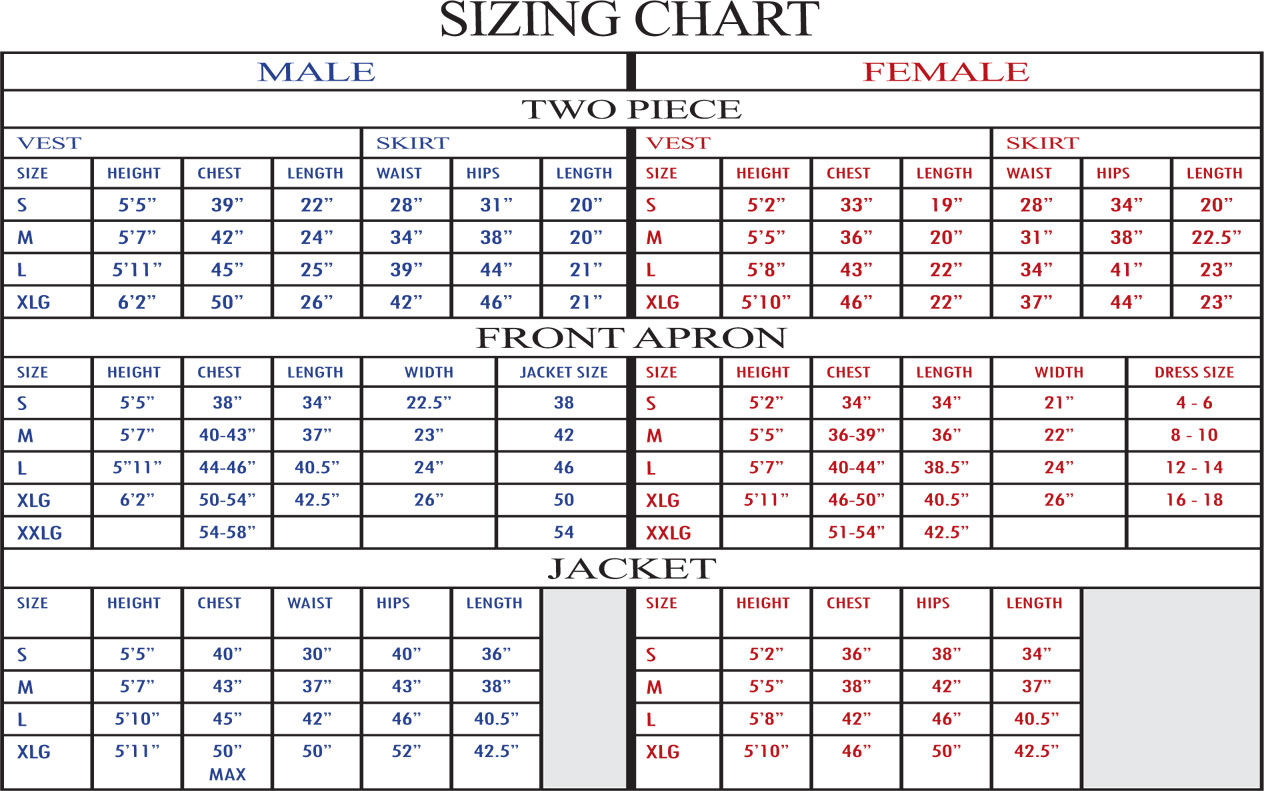 Size And Weight Chart Zrom